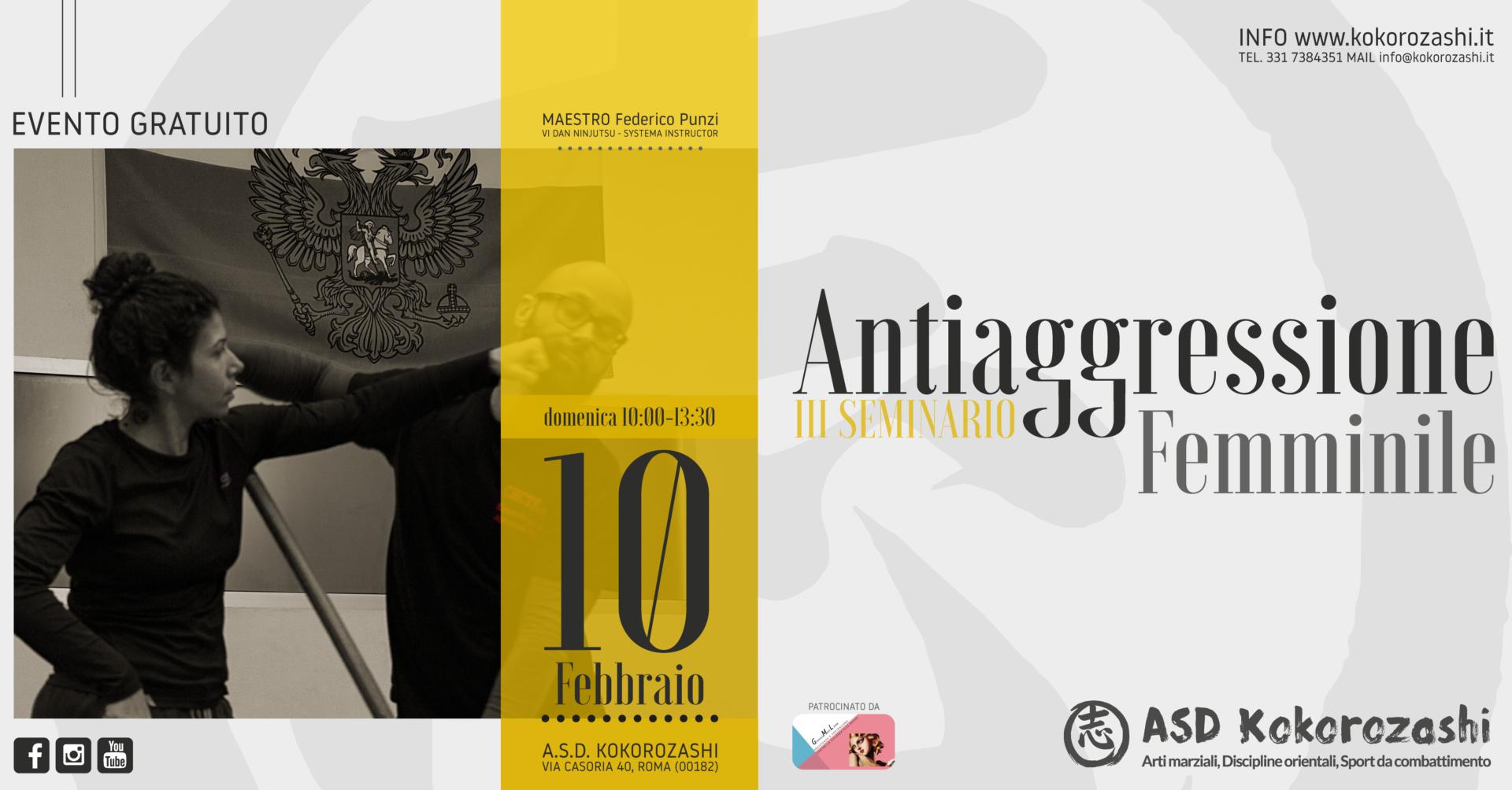 Antiaggressione Femminile - III Seminario gratuito